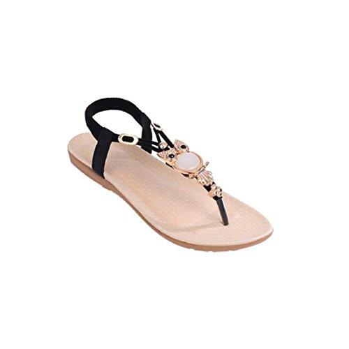 Tongshi Zapatos de las mujeres del Rhinestone Owl dulces sandalias del dedo del pie del clip playa de las sandalias Negro