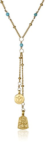 Satya Jewelry Gold Turquoise Mini Lotus and Tree of Life Lariat Y-Shaped Necklace (16-Inch)