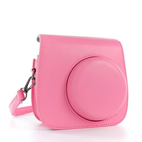 QUEEN3C Mini 9 Camera Case with Adjustable Strap Compatible for Fujifilm Instax Mini 9/8/8+ Instant Film Camera (Pink)