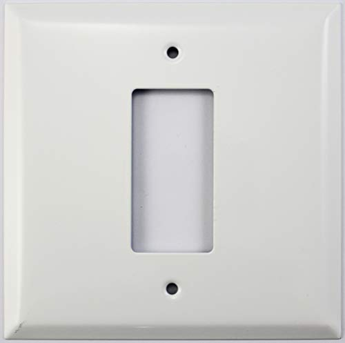 - Over Sized Jumbo Smooth White 2 Gang Wall Plate - 1 GFCI/Rocker Opening