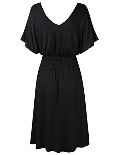 Dress Sleeve Waist V Cap Summer Black Elastic Leadingstar Casual Womens Neck 7nzIfxpq