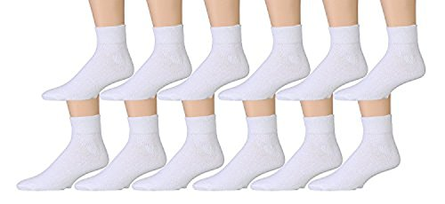 12 Pairs of Womens Sports Ankle Socks, Wholesale Bulk Pack Athletic Sock, by excell (White, -