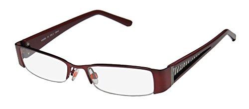 Karen Millen Km0090 Womens/Ladies Designer Half-rim Eyeglasses/Eye Glasses (50-17-135, Burgundy / Zebra - Millen Karen Frames Glasses