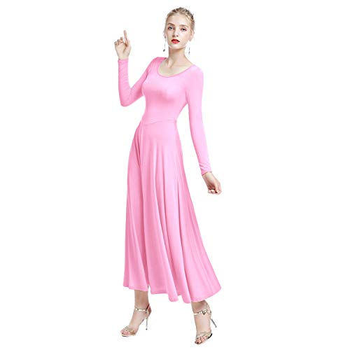 - Classic Womens Liturgical Praise Lyrical Dance Dress Loose Fit Full Length Dancewear Long Sleeve Christian Worship Costume Pink S