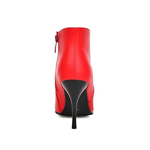 Spikes Solid Pu Zipper Red Boots Women's Stilettos Top Low Allhqfashion EwFqACn