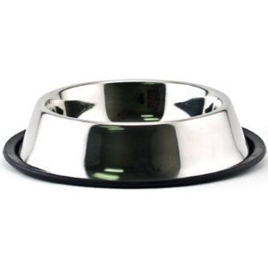PetEdge No-Tip Non-Skid Stainless Steel Bowl 16 oz 5'' x 5'' x 2'' by PetEdge