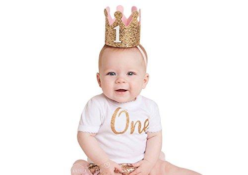 PoshPeanut Baby Crown Headband Princess Tiara First Birthday Hat Sparkle Gold