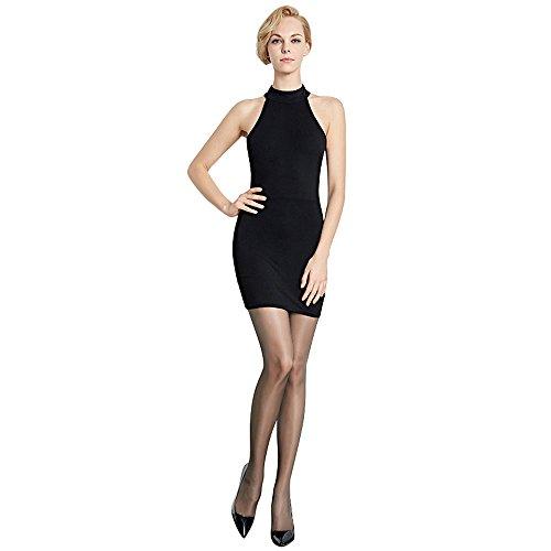 (Women's Sheer High Waist Control Top Reinforced Sexy ultrathin T Crotch Pantyhose 1D Silk Stockings)