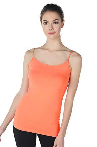 (NIKIBIKI Women Seamless Premium Classic Camisole, Made in U.S.A, One Size (Coral Peach))