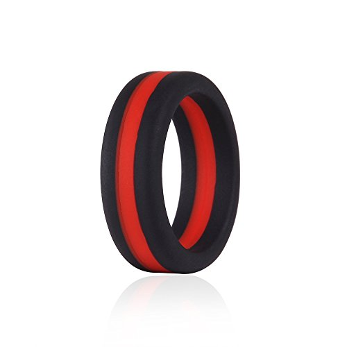 Silicone Wedding Ring Red Line Thin Stripe for Men, Black Flexible Rubber Alternative Bands Set, Elastic Non Metal for Mechanic Workout, Active Athlete Exercise, Sprot Keep Fit ()