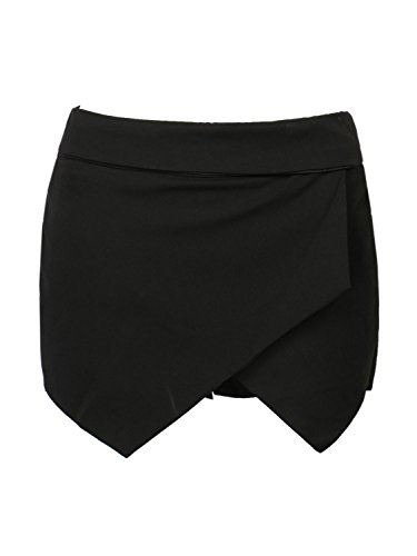 (CHARLES RICHARDS Women's Asymetric Hem Tulip Plain Mid Waist Skorts Mini Skirt Shorts Black)