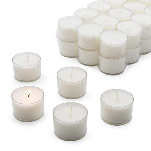 Royal Imports Clear Cup Tea Light Candles for Wedding, Holiday, Parties, Home Decor, 8 Hours Extended Burn Time (Bulk 30 Pack)