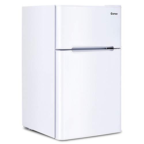 COSTWAY Compact Refrigerator 3.2 cu ft. Unit Small Freezer Cooler Fridge (White)