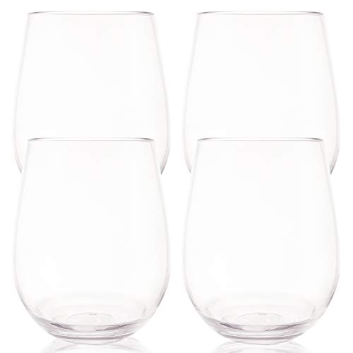 Unbreakable Stemless Wine Glasses 16oz | 100% Tritan Plastic Cups | Shatterproof Glassware | Perfect For Wine & Cocktails | Dishwasher Safe | Set of 4 | For Indoor and Outdoor Use | By Momentuum]()