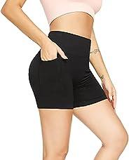 Zetitbee High Waist Yoga Shorts for Women Workout Yoga Shorts with Pockets Running Gym Shorts