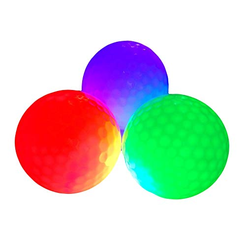 ZLIXING LED Glow Golf Balls, Personalized Practice Light up Golf Ball Glow in Dark for Women Men, Colored Novelty Funny Night Golf Balls Gifts (Pack fo -