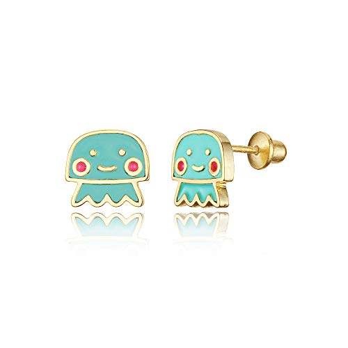 14k Gold Plated Enamel Jelly Fish Baby Girls Screwback Earrings with Sterling Silver Post