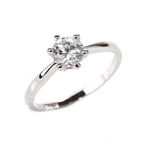 Diamond Wedding Rings for Women Anel 925 Sterling Silver Jewelry Engagement Rings (6 USA, Silver - Anel Six