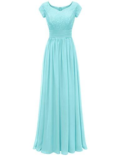 Bridesmaid Dresses Long Prom Dresses Lace Formal Evening Dress Tiffany Blue 16W