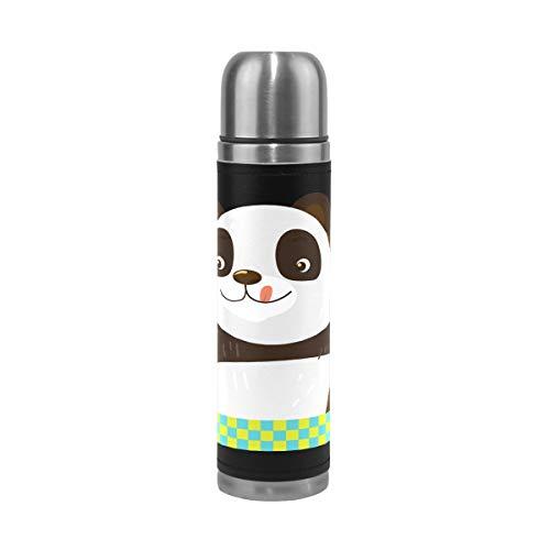Coffee Thermos Panda With Ice-Cream Cone Sports Insulated Stainless Steel Water Bottles Leak Proof Double Wall Thermos Leather Cover Vacuum Insulated Kids Thermos Flask Fits Backpack Lunchbox 17oz
