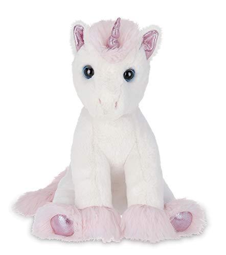 Bearington Dreamer White and Pink Plush Stuffed Animal Unicorn, 12 Inches