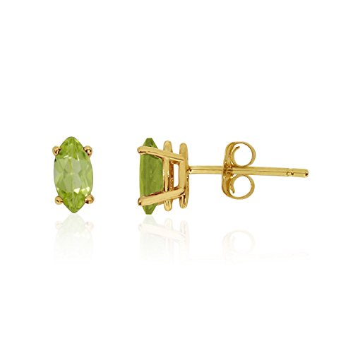 FB Jewels Solid 14k Yellow Gold Studs Genuine Green Birthstone Peridot Marquise Earrings (1/3 Cttw.)