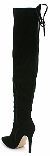 SHU CRAZY Womens Ladies Faux Suede Over The Knee Thigh High Stiletto Heel Drawstring Stretch Fashion Boots - U23 Black Suede PiJt3Tab