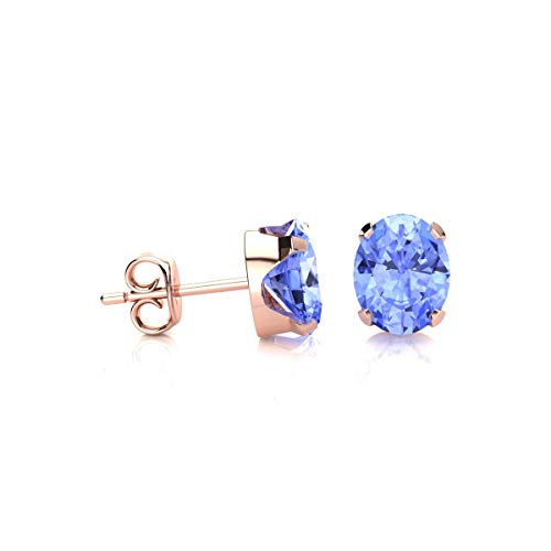 1 1/2 Carat Oval Shape Tanzanite Stud Earrings In Rose Gold Over Sterling Silver