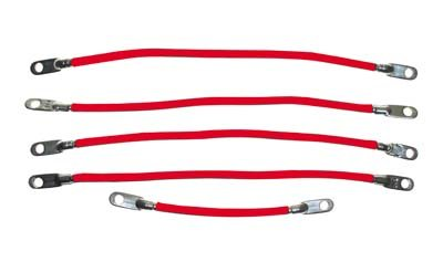 """EZGO 6 gauge battery cable set. Includes four 9"""" and one 12"""" cable. For E-Z-GO electric 1994-up. USA, EXCEPT ALASKA & HAWAII!"""