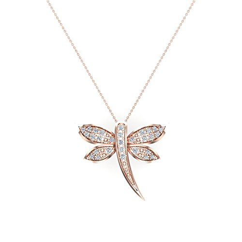 Dragon-fly Diamond Necklace 18K Rose Gold 0.36 ct