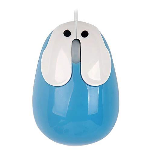 (HankuCute Cartoon Rabbit Mouse for PC Cable Gold Mouse 800 DPI 3D Optical USB Laptop (Blue) )