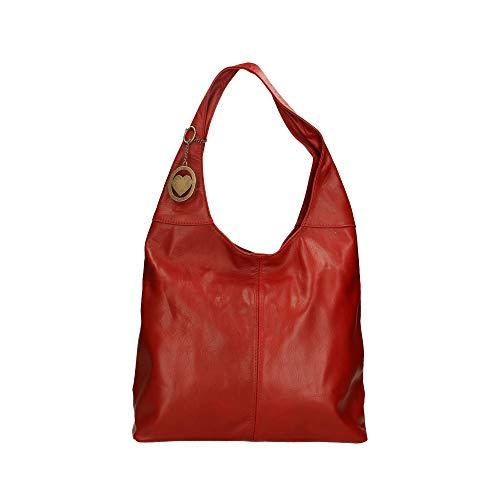 Borse Cm In Hombro Piel Bolsa Genuina 41x55x12 Italy De Chicca Rojo Made En gdHqgF