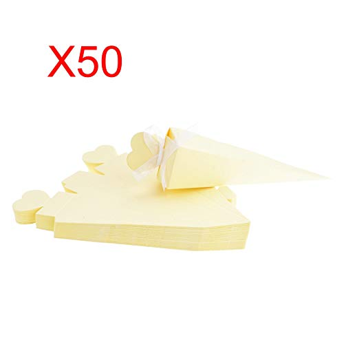 (KMALL 50PCS Milk White Ice Cream Cone Shape with Ribbon Wedding Gift Box Wedding Party Favor Candy Boxes Christmas Birth Baptism Degree Party)