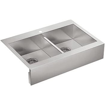Kohler K 3944 1 NA Single Hole Stainless Steel Sink With Shortened Apron