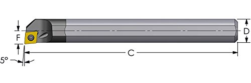 Ultra-Dex E08J SCLCR2-312 Carbide Boring Bar to Hold a Positive CCMT 21.51 at -5 Degree Lead, Right Hand, Coolant Thru, 0.500'' x 4.5'', 0.600'' Minimum Bore by Ultradex