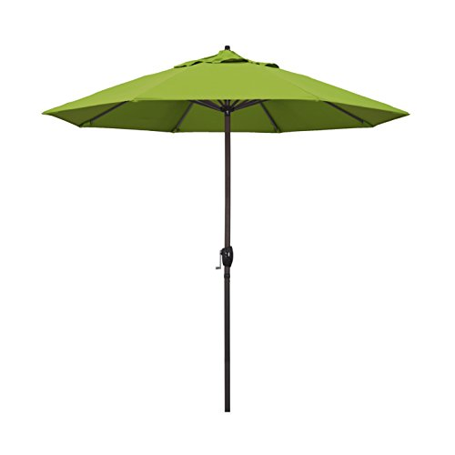 California Umbrella 9′ Round Aluminum Market Umbrella, Crank Lift, Auto Tilt, Bronze Pole, Kiwi Olefin