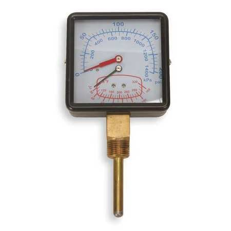 Boiler Gauge, Square, 0-200PSI, 80 to 320 F (Boiler Temp Gauge)