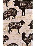 El mantel de Elrene es 100% vinilo con reverso de franela de olefina 100%. Siluetas de vacas, cerdos, ovejas y pollos con varias palabras relacionadas con la tierra de granja y frases en un fondo de grano de madera blanca envejecida que da la sensaci...