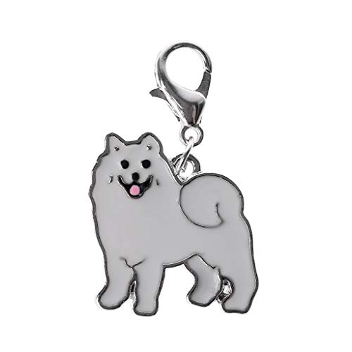 (PoityA Pog Pendants for Ashes Pet Collars Pendant Dog ID Tag Accessories Metal Pet Decorations Key Ornaments Samoyed)