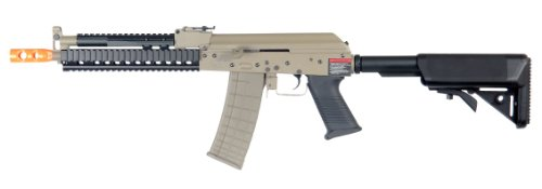 lancer tactical lt-10 beta project ak-47 ris electric airsoft gun polymer body metal gearbox fps-380 w/ high capacity magazine (tan)(Airsoft Gun)
