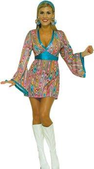 Abba Fancy Dress Outfits (GO GO SWIRL DRESS FANCY DRESS COSTUME)