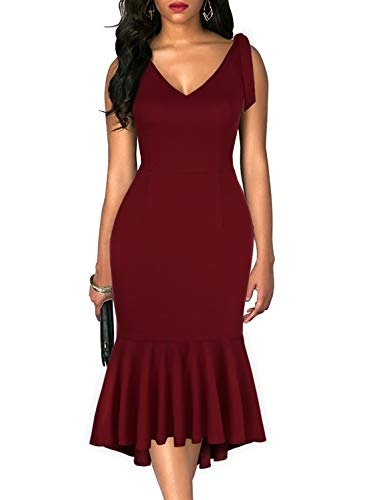 Drimmaks Women's Fashion V Neck Spaghetti Straps Open Back High-Low Swing Skirt Bodycon Midi Mermaid Evening Party Dress (025-Wine Red, M)