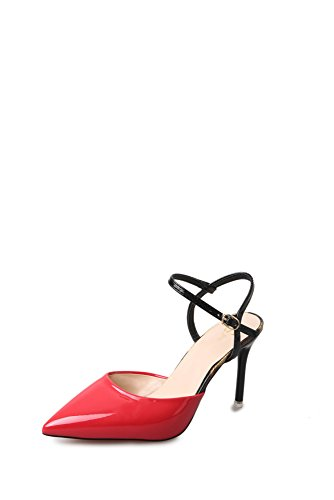 MOM Sandals female summer buckle fine with small fresh high heels back empty wild shoes red D54cu3vd