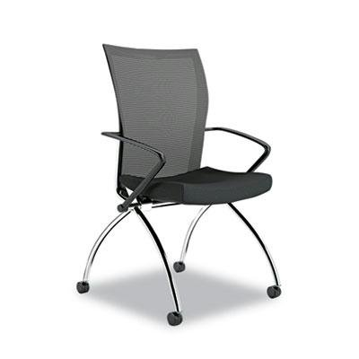 Mayline TSH1BB Valoré Training Series High-Back Nesting Chair, Mesh/Fabric, Black, (Mayline Fabric Chair)
