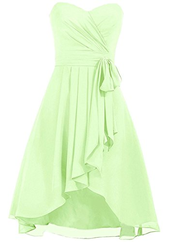 Chiffon High Prom Low Dress Dresses Gowns Sage Formal Bridesmaid Cdress Short Evening qwp66g