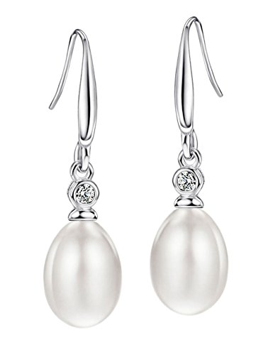Freshwater Pearl Drop Earrings Sterling Silver Cubic Zirconia June Birthstone Gemstone Jewelry for Women ()