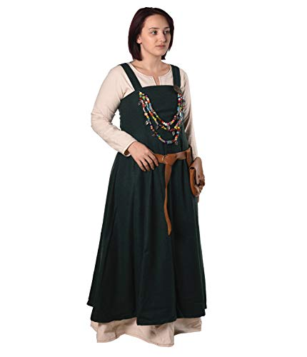 Anna - Medieval Viking Apron Overdress with Laced Back - Made in Turkey-Grn-XL/XXL Green ()