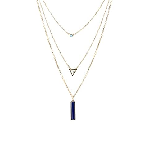 Fettero Womens Natural Stone Three Layered Pendant Long Chain Necklace 14K Gold Plated White Turquoise - Sport Turquoise Pendant