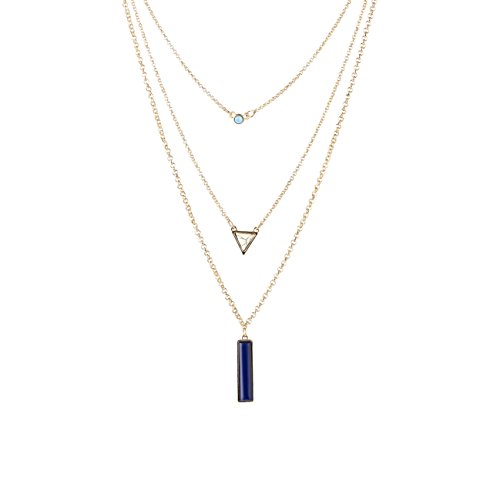 Fettero Womens Natural Stone Three Layered Pendant Long Chain Necklace 14K Gold Plated White Turquoise Rectangle Rectangle Turquoise Pendant