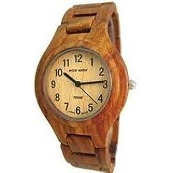Tense Wood Watch - Mens Solid Wooden Sandalwood Wrist Watch Hypoallergenic G7509S